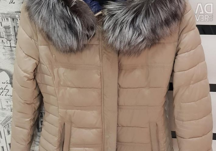 Jacket winter color beige silver fox fur