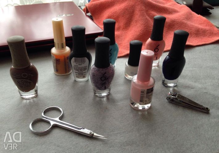 Varnishes for nails, nail scissors