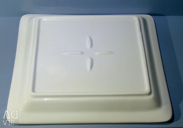 Square dish of earthenware