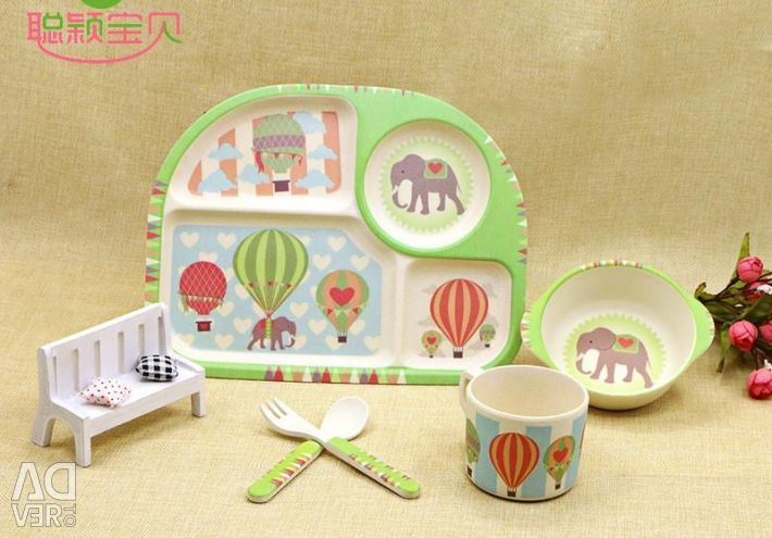 Children's dishes made of bamboo fiber Owl and elephant