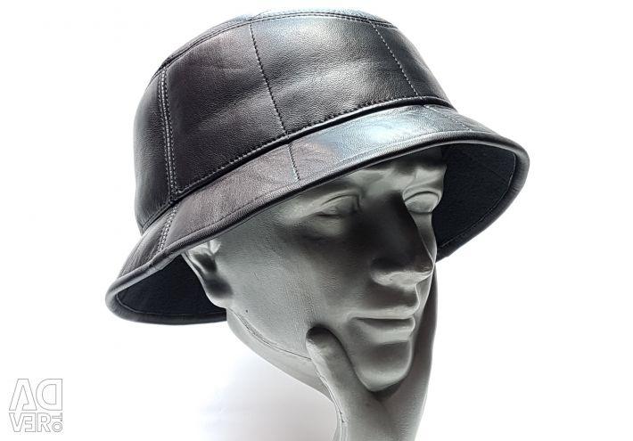 Капелюх Панама чоловіча натуральна шкіра (чорний)