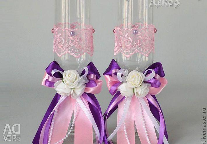Handmade wedding glasses