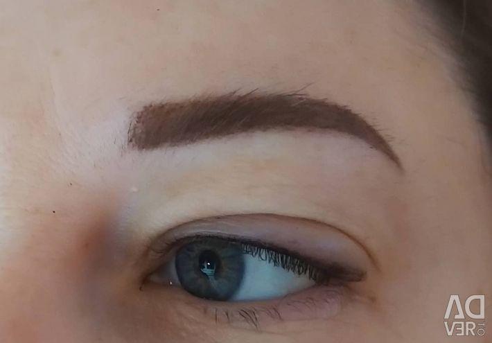 Permanent makeup. Tattoo. Nano-spraying