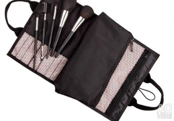 Set of cosmetic makeup brushes in a case