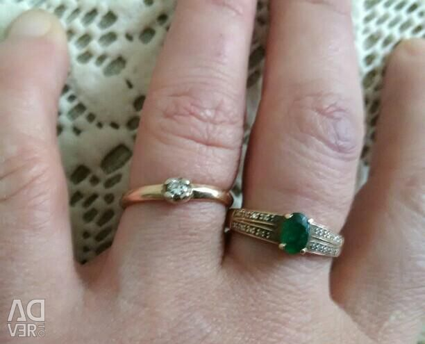 Gold ring with a diamond