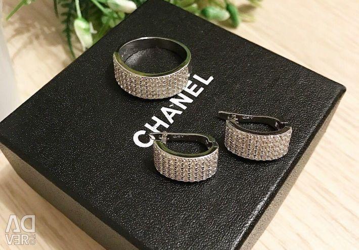 Jewelry set with micro-zircons