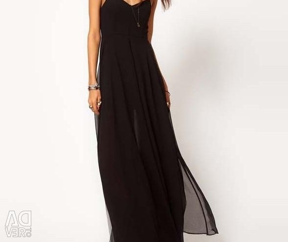 New black long (in a floor) dress solution M