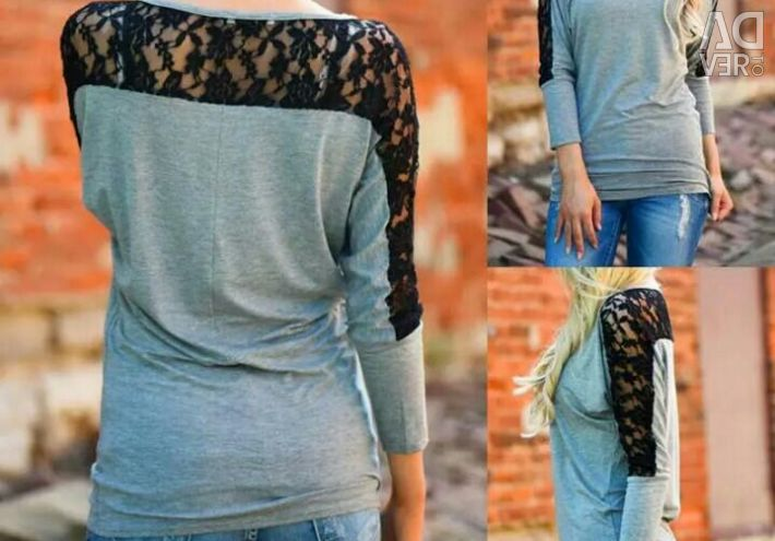 Stylish gray t-shirt with lace.Novaya.r.46-48.