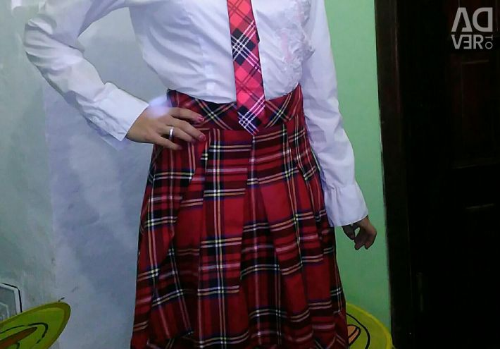 Skirt and tie.