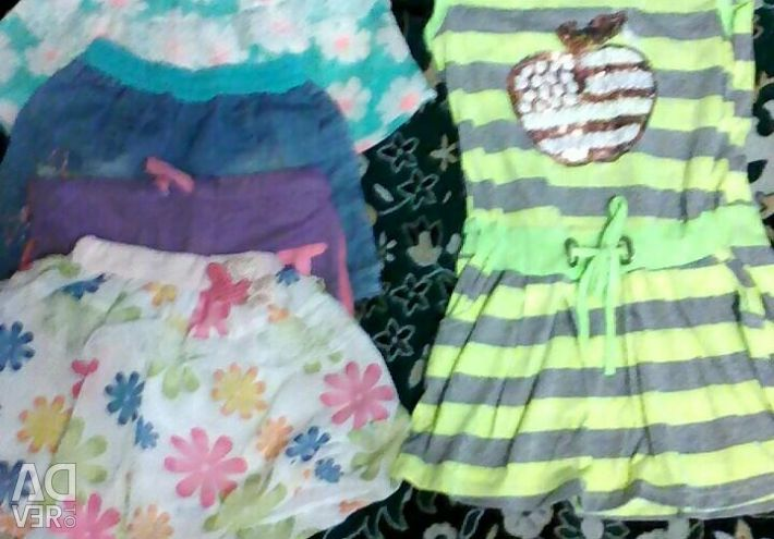 Summer dress and 4 shorts for a girl of 9-10 years.