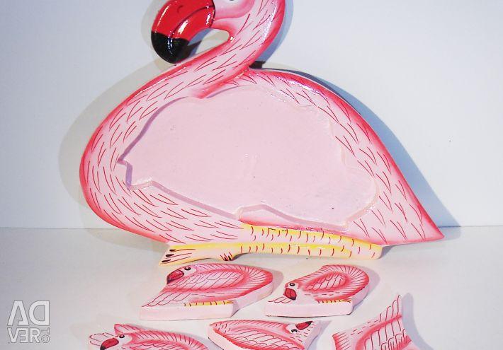 Пазл из дерева Фламинго
