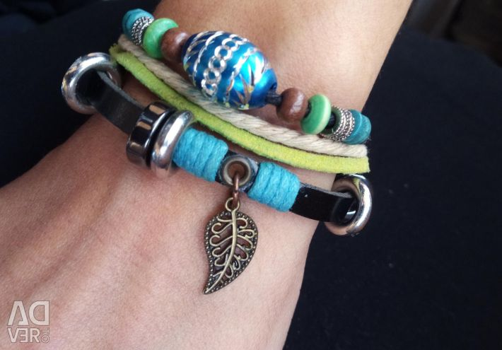 Leather bracelet with beads