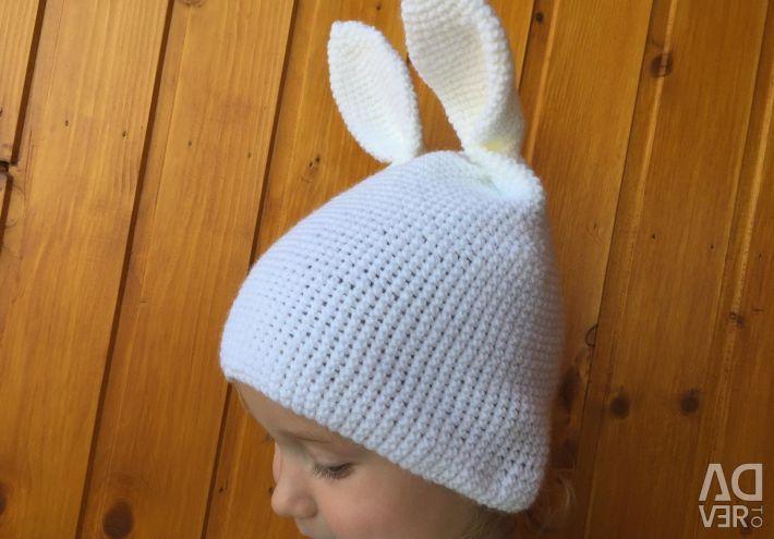 Handmade hare hat for girl