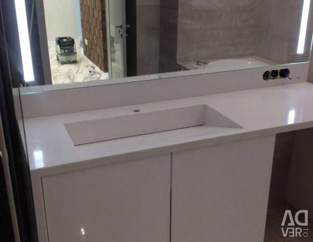 Countertop washbasin made of artificial stone