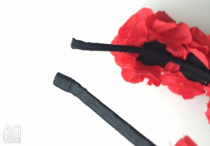 Headband new on hair flowers roses red handmade
