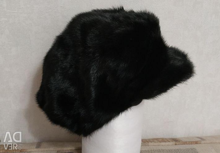 Mink beret cap with a visor
