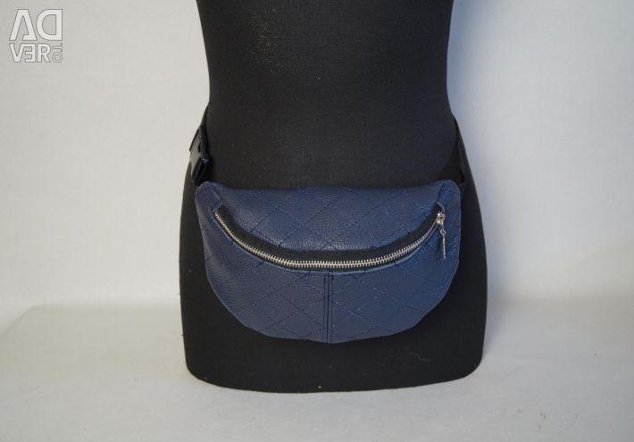 Τσάντα μέσης με ραφές από γνήσιο δέρμα