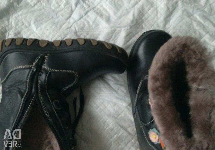 Boots for girls, 31 size, black, with flowers