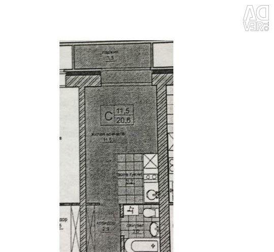 Apartment, open plan, 24 m²