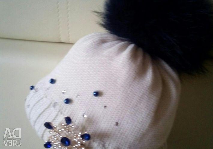 Χειμερινό καπέλο με φυσική γούνα, 50-52