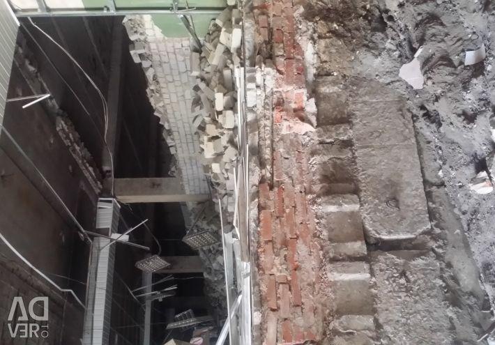 Dismantling, excavation, demolition, demolition work