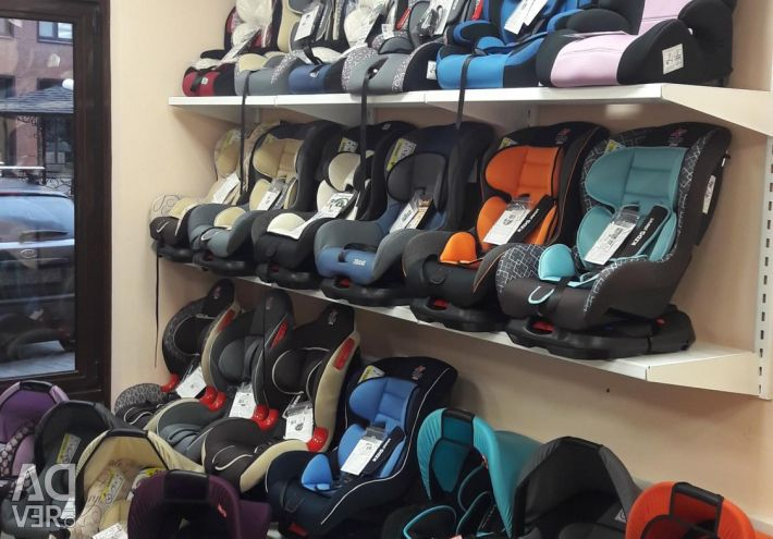 Children's car seats in a large assortment