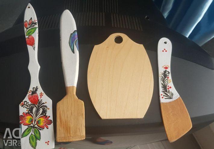 Σετ από ξύλινες σπάτουλες για την κουζίνα