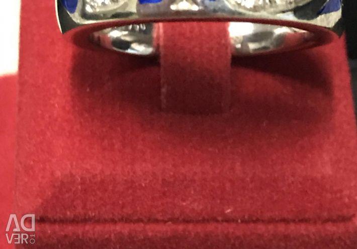 Inel de aur alb cu email și diamante