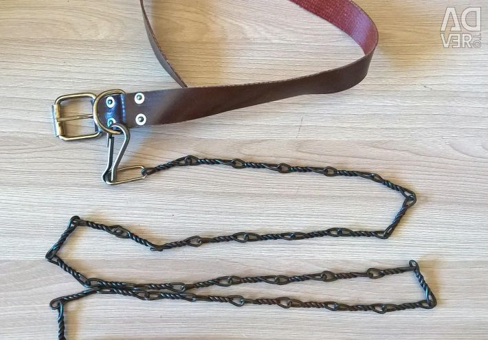 Leather collar and leash on a chain