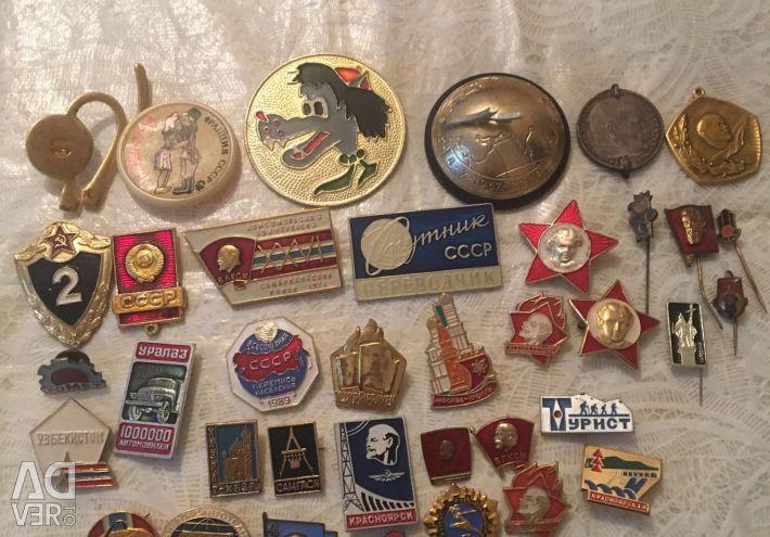 USSR goods porcelain toys, badges, bottles, etc.