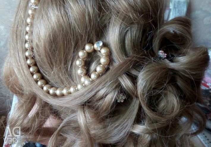 Wedding hairstyles, evening, make-up.