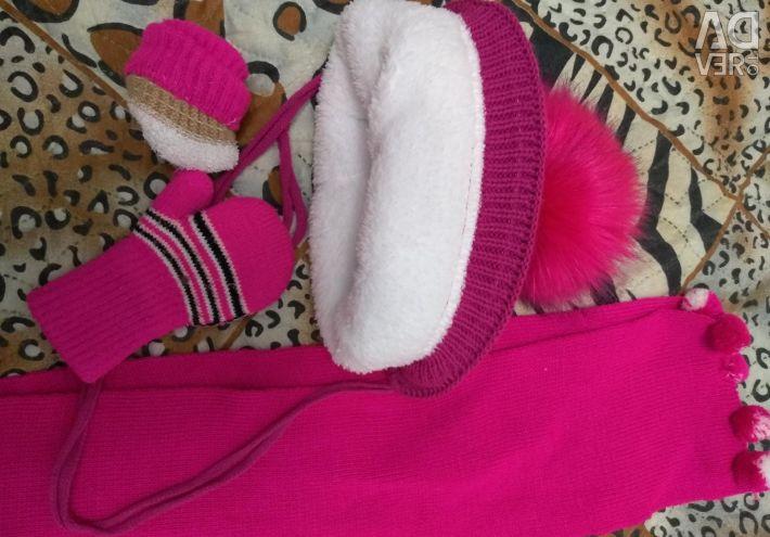 Cap, scarf, mittens