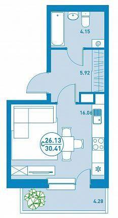 Apartment, studio, 30.4 m²