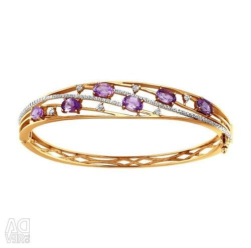 Bracelet hard gold with amethyst and cubic zirkonia