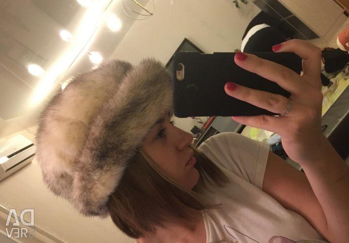 Mink cap with lapel