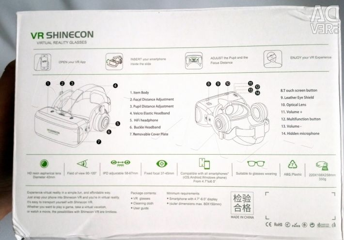 Glasses VR 3D Headset Shinecon G06E + Remote New