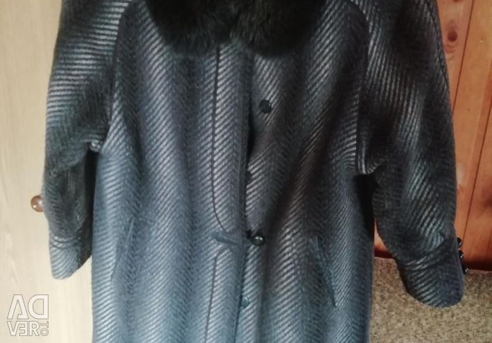 Wool coat with natural collar