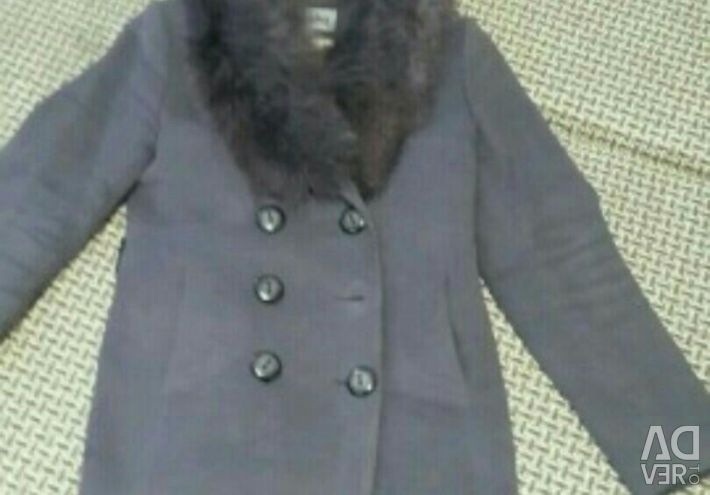 Winter coat with a fox collar