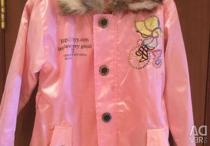 Palton cu căptușeală caldă și guler de blană