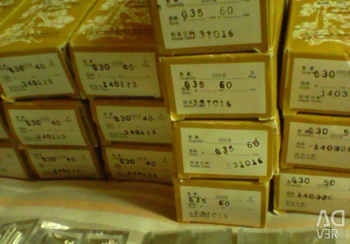 Ασημένιες βελόνες βελονισμού 40-50-60 mm