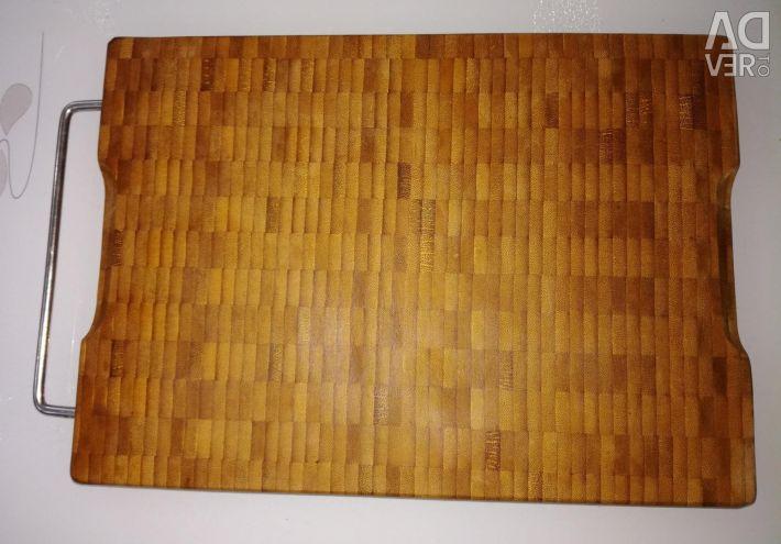 Panou de tăiere din lemn natural cu mâner