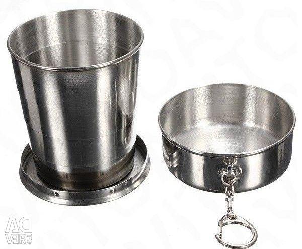 Πτυσσόμενο μεταλλικό γυαλί από ανοξείδωτο ατσάλι 240 ml νέο