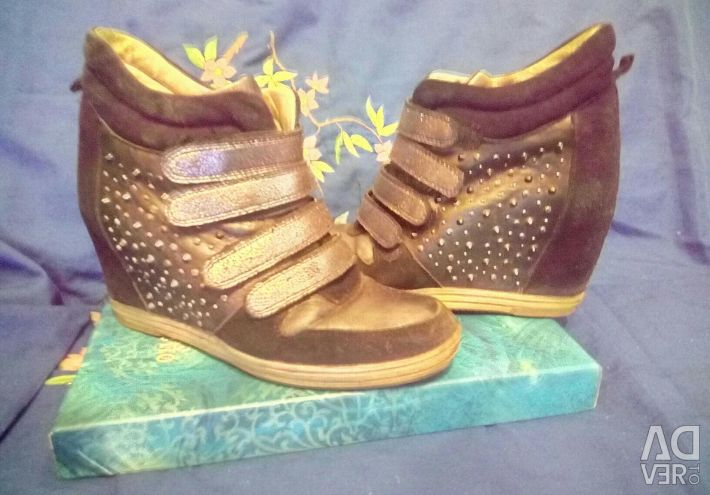 Winter sneakers size 37-38 nat. leather / suede