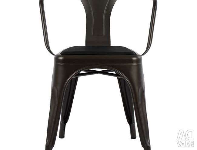 MELITA RUSTY ARMCHAIR & SEAT PU BLACK HM8063.0