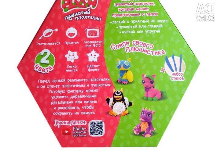Пухнастий пластилін Plush (рожевий і зелений)
