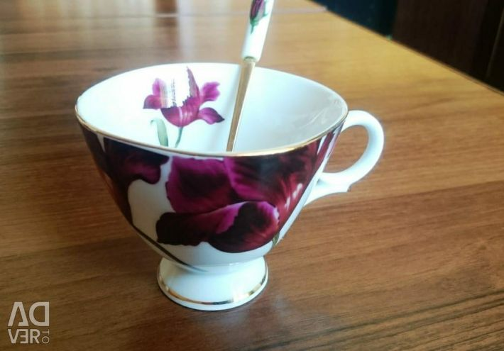 Porcelain cup with a spoon