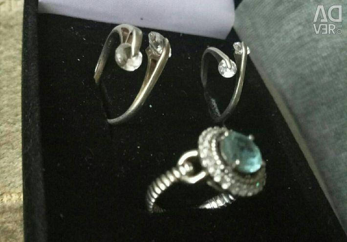 Earrings, silver rings