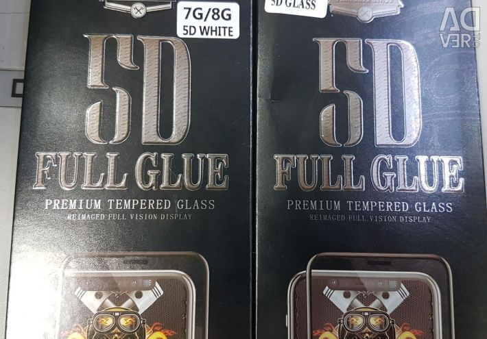 5D Protective glass iPhone, Samsung and so on.
