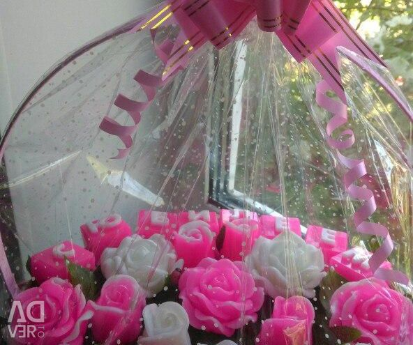 A basket of roses from soap for an anniversary!