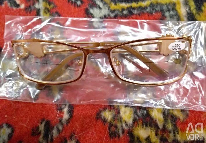 Glasses new -3, -2.5 metal frame